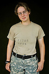 Specialist Virginia Treichler, 20, Bonney Lake, WA, Medic, Charlie Medical Company 501st Field Support Battalion 1st Brigade 1st Armored Division taken at the company's medical facility at Camp Ramadi, Iraq on Monday Oct. 02, 2006.<br />