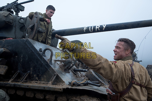 Logan Lerman, Brad Pitt<br /> in Fury (2014) <br /> *Filmstill - Editorial Use Only*<br /> CAP/FB<br /> Image supplied by Capital Pictures