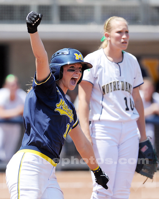 The University of Michigan softball team defeats Notre Dame 12-2 during the NCAA softball regional on May 23, 2010 at the Wilpon Softball Complex in Ann Arbor, MI.