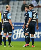 Fussball 2. Bundesliga:  Saison   2012/2013,    10. Spieltag  TSV 1860 Muenchen - FC Erzgebirge Aue  22.10.2012 Daniel Bierofka, Moritz Stoppelkamp und Ismael Blanco (v. li., 1860 Muenchen)