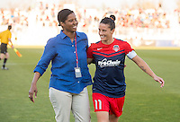 Boyds, MD - April 16, 2016: Washington Spirit defender Ali Krieger (11) with Briana Scurry. The Washington Spirit defeated the Boston Breakers 1-0 during their National Women's Soccer League (NWSL) match at the Maryland SoccerPlex.