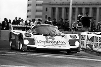 COLUMBUS, OH - OCTOBER 6: Al Holbert drives his Holbert Racing Porsche 962 HR1 during the Columbus Ford Dealers 500 IMSA GTP/Lights race at the temporary Columbus Street Circuit in Columbus, Ohio on October 6, 1985. (Photo by Bob Harmeyer)