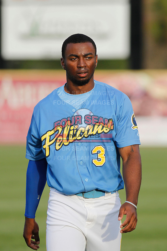 Myrtle Beach Pelicans outfielder Shawon Dunston Jr. (3) before a game against the Wilmington Blue Rocks at Ticketreturn.com Field at Pelicans Ballpark on April 10, 2015 in Myrtle Beach, South Carolina.  Wilmington defeated Myrtle Beach 8-3. (Robert Gurganus/Four Seam Images)