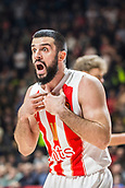 9th February 2018, Aleksandar Nikolic Hall, Belgrade, Serbia; Euroleague Basketball, Crvenz Zvezda mts Belgrade versus AX Armani Exchange Olimpia Milan; Guard Branko Lazic of Crvena Zvezda mts Belgrade reacts