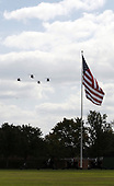 A flyover of the Marine helicopters at a ceremony where United States President George W. Bush participates in an Armed Forces Change of Command ceremony and official Hail and Farewell tribute honor for out-going Chairman of the Joint Chiefs of Staff, US Marine Corps General Peter Pace and in-coming Chairman of the Joint Chiefs of Staff US Navy Admiral Michael Mullen at Fort Myer, Virginia on October 1, 2007.<br /> Credit: Aude Guerrucci / Pool via CNP