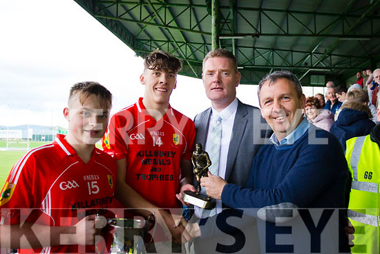 Easy Kerry minor captain Ian Roche, David Clifford (Man of the Match with Tim Murphy (Kerry Co Comm Chairman) and Peter Keane (Sponsor),
