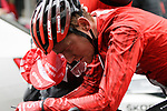 Sam Oomen (NED) Team Sunweb exhausted at the end of another wet Stage 4 of the Tour of the Basque Country 2019 running 163.6km from Vitoria-Gasteiz to Arrigorriaga, Spain. 11th April 2019.<br /> Picture: Colin Flockton | Cyclefile<br /> <br /> <br /> All photos usage must carry mandatory copyright credit (&copy; Cyclefile | Colin Flockton)