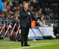 23rd November 2019; Liberty Stadium, Swansea, Glamorgan, Wales; English Football League Championship, Swansea City versus Millwall; Steve Cooper manager of Swansea City gestures to his players  - Strictly Editorial Use Only. No use with unauthorized audio, video, data, fixture lists, club/league logos or 'live' services. Online in-match use limited to 120 images, no video emulation. No use in betting, games or single club/league/player publications