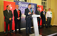 Pictured: Craig Lawton, Conservative candidate (C). Friday 09 June 2017<br /> Re: Counting of ballots at Brangwyn Hall for the general election in Swansea, Wales, UK