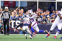 Sunday, October 2, 2016: Buffalo Bills running back LeSean McCoy (25) looks to get by New England Patriots cornerback Logan Ryan (26) during the NFL game between the Buffalo Bills and the New England Patriots held at Gillette Stadium in Foxborough Massachusetts. Buffalo defeats New England 16-0. Eric Canha/Cal Sport Media