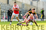 Ambrose O'Donovan Dr Crokes in action against Paul Devane Dingle in the Senior County Football Semi Final in Fitzgerald Stadium on Sunday.