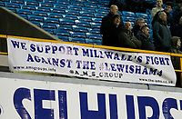 A banner protesting the Compulsory Purchase Order that Lewisham council are looking to enforce against the club during the Sky Bet Championship match between Millwall and Sheff United at The Den, London, England on 2 December 2017. Photo by Carlton Myrie / PRiME Media Images.