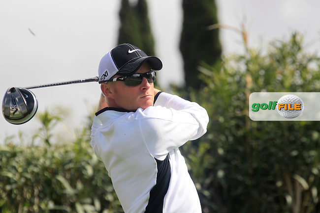 Simon Dyson (ENG) tees off on the 10th tee during Saturday's rain delayed Round 3 of the Open de Espana at Real Club de Golf de Sevilla, Seville, Spain, 5th May 2012 (Photo Eoin Clarke/www.golffile.ie)