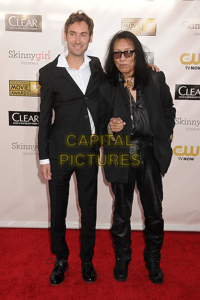 Malik Bendjelloul, Sixto Rodriguez.18th Annual Critics' Choice Movie Awards - Arrivals held at Barker Hangar, Santa Monica, California, USA, .10th January 2013 .full length black suit glasses white shirt finger pointing gesture .CAP/ADM/BP.©Byron Purvis/AdMedia/Capital Pictures.
