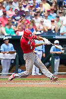 North Carolina State Wolfpack shortstop Trea Turner #8 bats during Game 3 of the 2013 Men's College World Series between the North Carolina State Wolfpack and North Carolina Tar Heels at TD Ameritrade Park on June 16, 2013 in Omaha, Nebraska. The Wolfpack defeated the Tar Heels 8-1. (Brace Hemmelgarn/Four Seam Images)