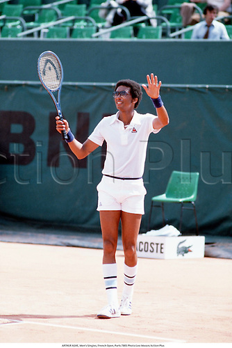 May 1979. Paris, France; ARTHUR ASHE, Men's Singles, French Open, Paris 1979.