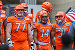 Boise State Broncos offensive lineman John Molchon (77, Boise State Broncos cornerback Tyler Horton (14) in action during the Servpro First Responder Bowl game between Boise State Broncos and Boston College Eagles at the Cotton Bowl Stadium in Dallas, Texas.