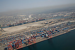 Aerial view of the Port of Los Angeles with a layer of smog from the Station Fire in the Angeles National Forest.