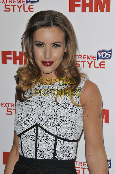 Charlie Webster.FHM 100 Sexiest Women In The World 2013 Party at The Sanderson Hotel, London,  England, May 1st 2013..half length black white grey gray lace sleeveless .CAP/DS.©Dudley Smith/Capital Pictures