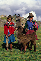 Peru, Sacsayhuaman.  Two Young Quechua Women with their Alpacas.