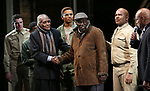 """Douglas Turner Ward, Charles Fuller and David Alan Grier with Kenny Leon and cast During the Broadway Opening Night Curtain Call Bows for The Roundabout Theatre Company's """"A Soldier's Play""""  at the American Airlines Theatre on January 21, 2020 in New York City."""