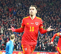 19th November 2019; Cardiff City Stadium, Cardiff, Glamorgan, Wales; European Championships 2020 Qualifiers, Wales versus Hungary; Aaron Ramsey of Wales celebrates after scoring his second goal of the game making it 2-0 in the 47th minute - Editorial Use