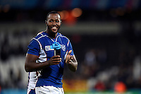 Tjiuee Uanivi of Namibia acknowledges the crowd after the match. Rugby World Cup Pool C match between New Zealand and Namibia on September 24, 2015 at The Stadium, Queen Elizabeth Olympic Park in London, England. Photo by: Patrick Khachfe / Onside Images