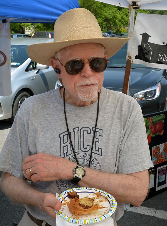 Market Committee member, John Bessler, at the Saugerties Farmer's Market on Main Street in the Village of Saugerties, NY, on Saturday, June 10, 2017. Photo by Jim Peppler. Copyright/Jim Peppler-2017.