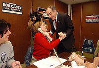 SCRANTON, PA - NOVEMBER 7: Democratic Senate candidate Bob Casey greets a campaign worker at his phone bank  at the IEBW Hall on Election Day November 7, 2006 in Scranton, Pennsylvania. Casey faces two term incumbent Republican Senator Rick Santorum  in the general election. (Photo by William Thomas Cain/Getty Images)