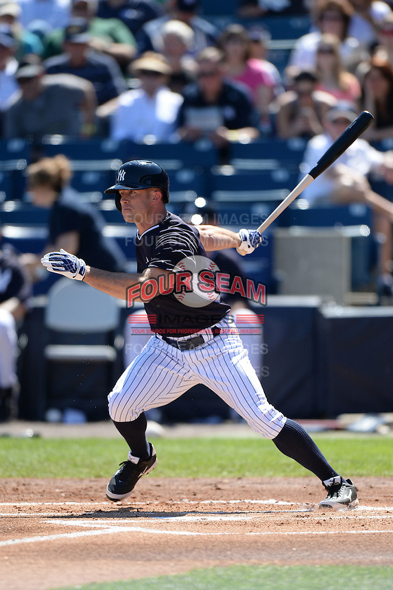 Outfielder Brett Gardner (11) of the New York Yankees during a spring training game against the Philadelphia Phillies on March 1, 2014 at Steinbrenner Field in Tampa, Florida.  New York defeated Philadelphia 4-0.  (Mike Janes/Four Seam Images)