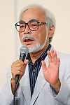 Hayao Miyazaki, September 6, 2013, Tokyo, Japan: Director Hayao Miyazaki announces his retirement from the animation industry during a press conference in Tokyo, Japan. Miyazaki co-founded studio Ghibli in 1985, after working for Toei Animation. His first movie was Laputa: Castle in the Sky from 1986; since then he worked personally on 11 feature movies. His last movie The Wind Rises(Jap: Kaze-tachinu) which is already a box office hit in Japan, was presented at Venice Film Festival last Sunday September 1st and will be screened worldwide. The movie, about the Japanese aircraft designer Jiro Horikoshi, who designed the Zero, the Japanese fighter plane used in World War Two, is already considered a masterpiece, as well as Miyazaki cultural testament. (Photo by Yusuke Nakanishi/AFLO)