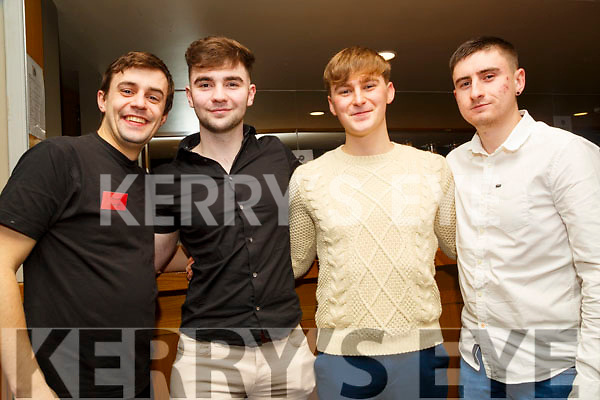 Enjoying the Tralee Musical Society Young S+dancing Competition in Ballyroe Heights Hotel,Tralee on saturday night, Gary Murphy,Dylan O'Sullivan,Sean Atkinson and Graham Riordan