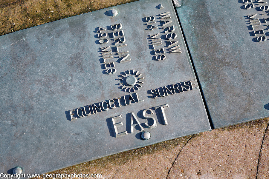 Euroscope, Ness Point, Lowestoft, Suffolk, England, Britain's most easterly point.<br /> Equinoctial sunrise East plaque.