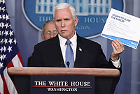 United States Vice President Mike Pence speaks during a press conference with members of the coronavirus task force in the Brady Press Briefing Room of the White House on March 24, 2020 in Washington, DC.<br /> Credit: Oliver Contreras / Pool via CNP/AdMedia