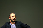 Italian writer Roberto Saviano attends a meeting at the Festival of the Economy, in Trento.