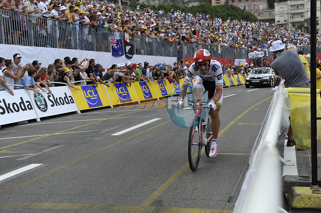 Eventual stage winner Team Saxo Bank rider Fabian Cancellara (SUI) passes beneath the packed grandstands on his way to the finish line the Prologue Stage 1 of the 2009 Tour de France a 15.5km individual time trial held around Monaco. 4th July 2009 (Photo by Eoin Clarke/NEWSFILE)
