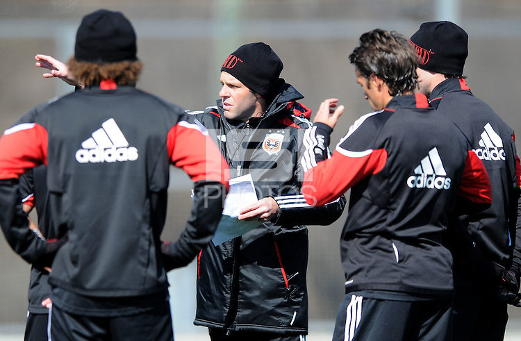 D.C. United Head Coach Ben Olsen. During the first training session after returning from Arizona, at Long Bridge Park in Arlington Virginia, Monday February 20, 2012.