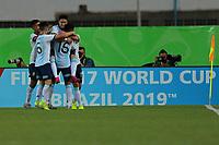 03th November 2019; Kleber Andrade Stadium, Cariacica, Espirito Santo, Brazil; FIFA U-17 World Cup Brazil 2019, Argentina versus Tajikistan; Franco Orozco of Argentina celebrates his goal in the 38th minute, 1-0