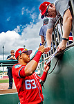 1 March 2019: Washington Nationals infielder Luis Garcia signs autographs from the dugout prior to a Spring Training game against the Miami Marlins at Roger Dean Stadium in Jupiter, Florida. The Nationals defeated the Marlins 5-4 in Grapefruit League play. Mandatory Credit: Ed Wolfstein Photo *** RAW (NEF) Image File Available ***