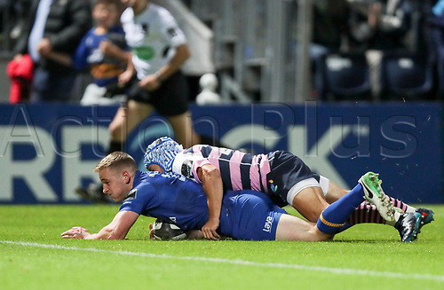8th September 2017, RDS Arena, Dublin, Ireland; Guinness Pro14 Rugby, Leinster versus Cardiff Blues; Nick McCarthy (Leinster) is tackled before the line but makes it over to score a try