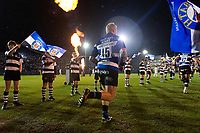 Tom Homer and the rest of the Bath Rugby team run onto the field. Aviva Premiership match, between Bath Rugby and Exeter Chiefs on March 23, 2018 at the Recreation Ground in Bath, England. Photo by: Patrick Khachfe / Onside Images