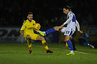 Bristol Rovers' Alex Rodman under pressure from Fleetwood Town's Lewie Coyle<br /> <br /> Photographer Kevin Barnes/CameraSport<br /> <br /> The EFL Sky Bet League One - Bristol Rovers v Fleetwood Town - Saturday 22nd December 2018 - Memorial Stadium - Bristol<br /> <br /> World Copyright &copy; 2018 CameraSport. All rights reserved. 43 Linden Ave. Countesthorpe. Leicester. England. LE8 5PG - Tel: +44 (0) 116 277 4147 - admin@camerasport.com - www.camerasport.com