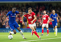 Tyler Walker of Nottingham Forest<br /> Is pressured by Antonio Rudiger of Chelsea, Carabao Cup, Third Round, Chelsea v Nottingham Forrest, Stamford Bridge, London, United Kingdom, 20th  September 2017