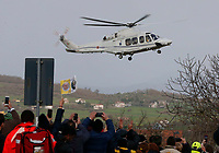 Pope Francis arrives by helicopter. Pope Francis is on a pastoral visit in Pietrelcina and San Giovanni Rotondo today, on the 50th anniversary of the death of St Pio