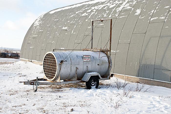 60595-01102 Bear live trap near polar bear compound in winter, Churchill MB Canada