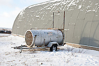60595-01102 Bear live trap near polar bear compound in winter, Churchill MB Canada