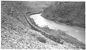 #278 westbound along Gunnison River near Cebolla, CO.  33 cars.  20 mph.<br /> D&amp;RGW  near Cebolla, CO  Taken by Kindig, Richard H. - 9/20/1952