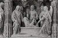 The Virgin Mary ascends from her tomb with 4 angels, and Christ, who has descended from heaven, before 1540, from the choir screen, Chartres Cathedral, Eure-et-Loir, France. Chartres cathedral was built 1194-1250 and is a fine example of Gothic architecture. It was declared a UNESCO World Heritage Site in 1979. Picture by Manuel Cohen.