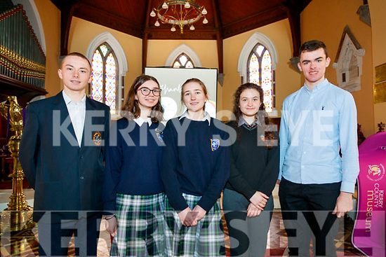 Finalists in the Kerry Articulation Talk competition, pictured in Ashe Street, Tralee, on Thursday, March 5th last were, l-r: Joshua O'Sullivan (Scoil Phobail Sliabh Luachra, Rathmore), Rosie Kennelly and Janne Viet (Presentation Secondary School, Tralee) with Caoimhe Ní Chíanáin and Eoin Mac Uileagóid (Gaelcholáiste Chiarraí).