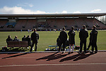 Edinburgh City v Spartans, 11/04/2015. Commonwealth Stadium, Scottish Lowland League. Home players and management watching the first-half action at the Commonwealth Stadium at Meadowbank during the Scottish Lowland League match between Edinburgh City and city rivals Spartans, which was won by the hosts by 2-0. Edinburgh City were the 2014-15 league champions and progressed to a play-off to decide whether there would be a club promoted to the Scottish League for the first time in its history. The Commonwealth Stadium hosted Scottish League matches between 1974-95 when Meadowbank Thistle played there. Photo by Colin McPherson.